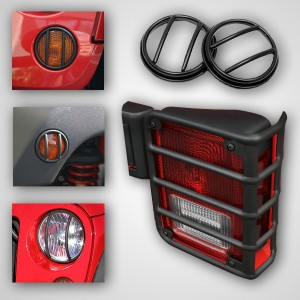 Rugged Ridge (12496.02): 10-Piece Black Euro Guard Light Kit for 07-16 Jeep Wrangler JK
