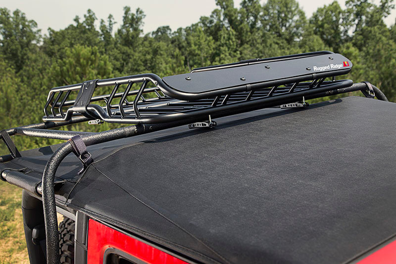 Rugged Ridge (11703.03): Spartacus Roof Rack Basket with Wind Deflector