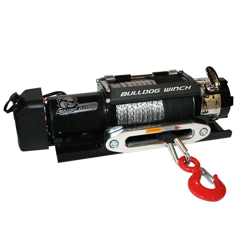 Bulldog Winch (10040): 12K Trailer Winch with Synthetic Rope and Hawse Fairlead