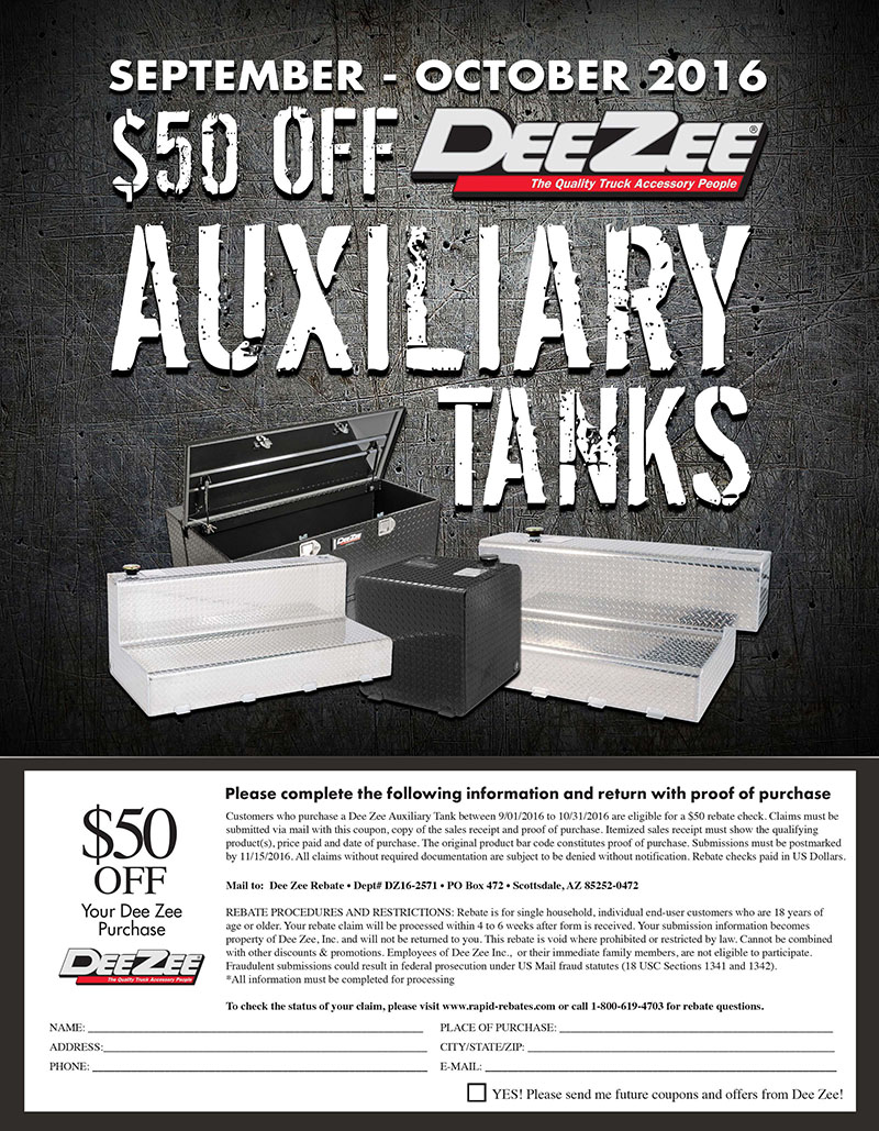 Dee Zee Rebate: Get $50 Off Auxiliary Tanks