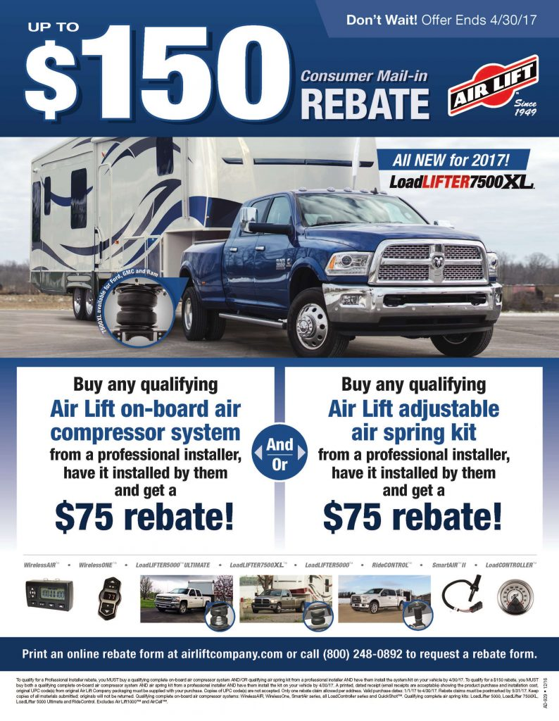 Air Lift Promotion: Get up to $150 Off
