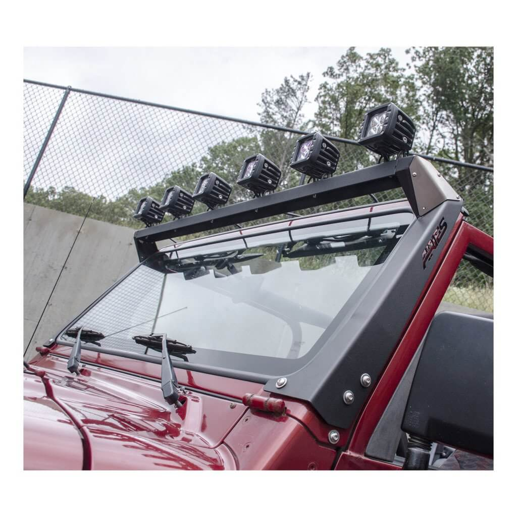 Aries 15916 roof light mounting brackets and crossbar for jeep