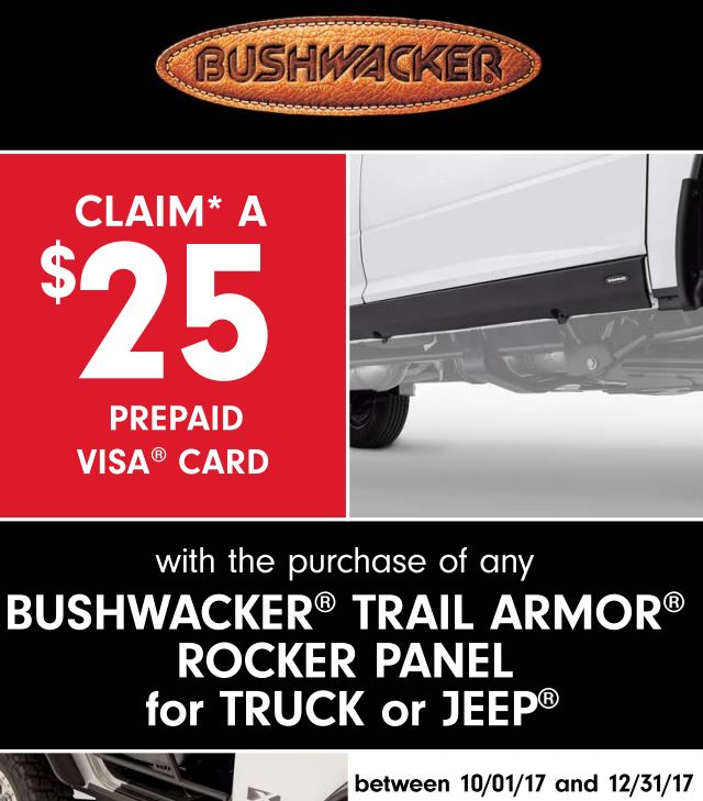 Bushwacker: Get a $25 Prepaid Card with Trail Armor Rocker Panel Purchase