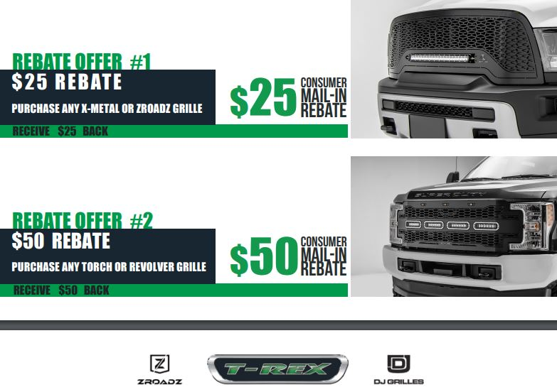 T-Rex Grilles: Get Up to a $50 Rebate on Qualifying Grille Purchases
