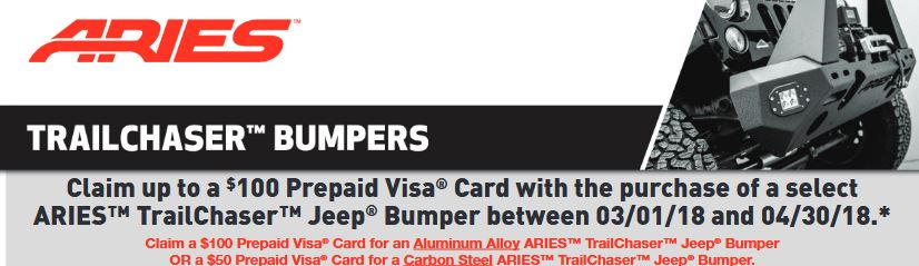ARIES: Get up to a $100 Prepaid Card on Select TrailChaser Jeep Bumpers
