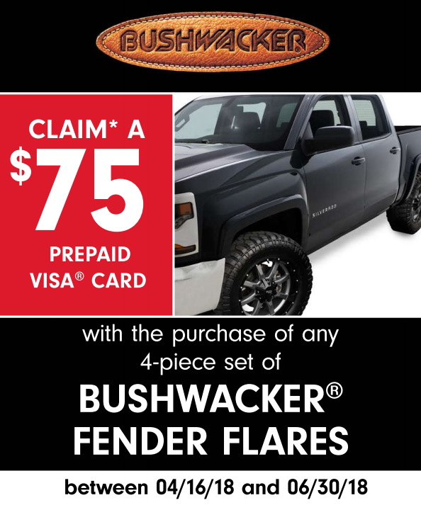 Bushwacker: Get a $75 Prepaid Card on Four-Piece Fender Flares
