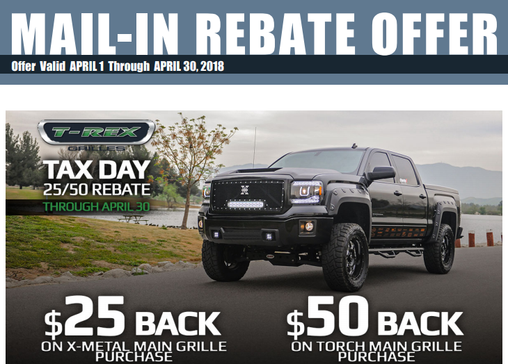 T-Rex Grilles Tax Day Rebates