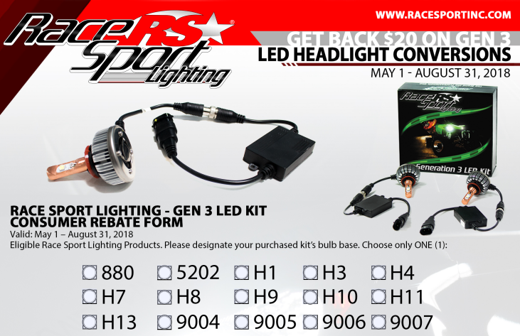 Race Sport 20 Card with GEN 3 LED Headlight Conversion