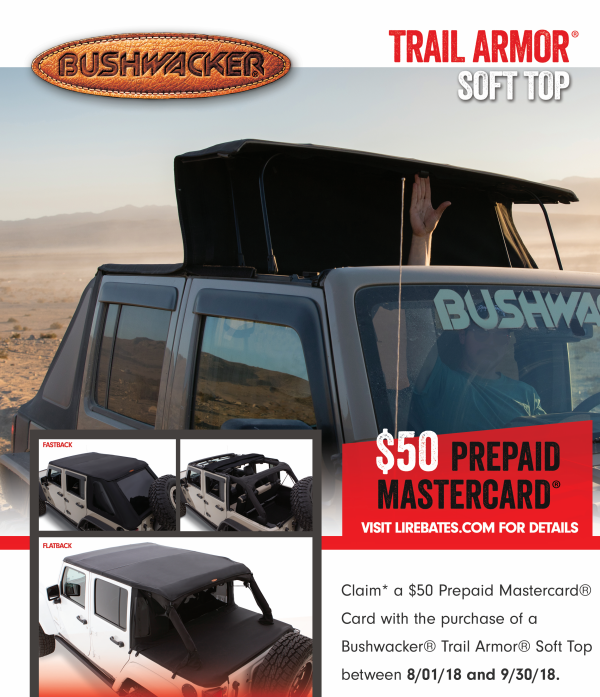 Bushwacker: Get a $50 Prepaid Card on Trail Armor Soft Top