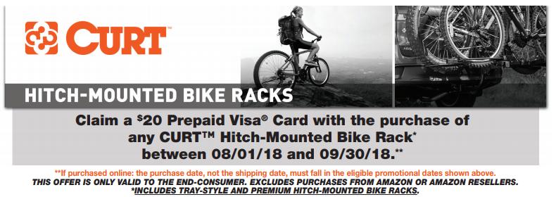 CURT 20 Prepaid Card on Hitch-Mounted Bike Racks