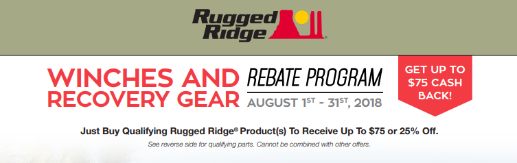 Rugged Ridge: Get Up to $75 Back on Qualifying Winches and Recovery Gear