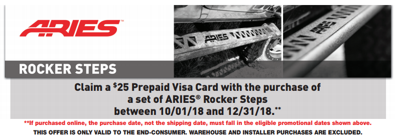 ARIES 25 Prepaid Card on Rocker Steps 2018