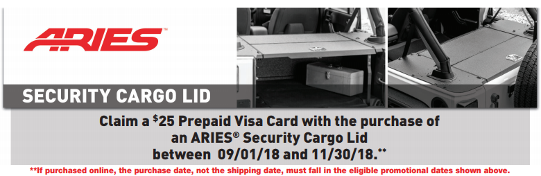 ARIES 25 Prepaid Card with Security Cargo Lid Purchase