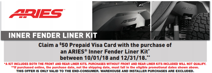 ARIES: Get a $50 Prepaid Card with Inner Fender Liner Kit Purchase