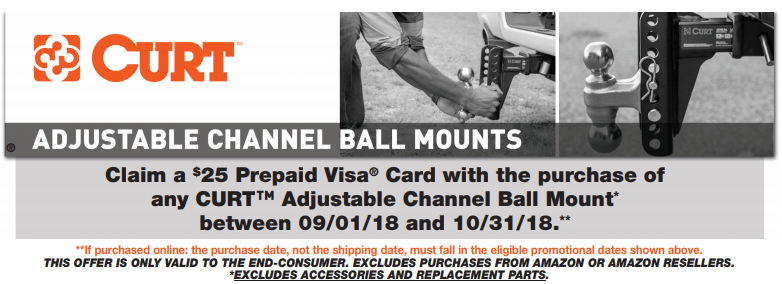 CURT 25 Prepaid Card with on Adjustable Ball Mounts