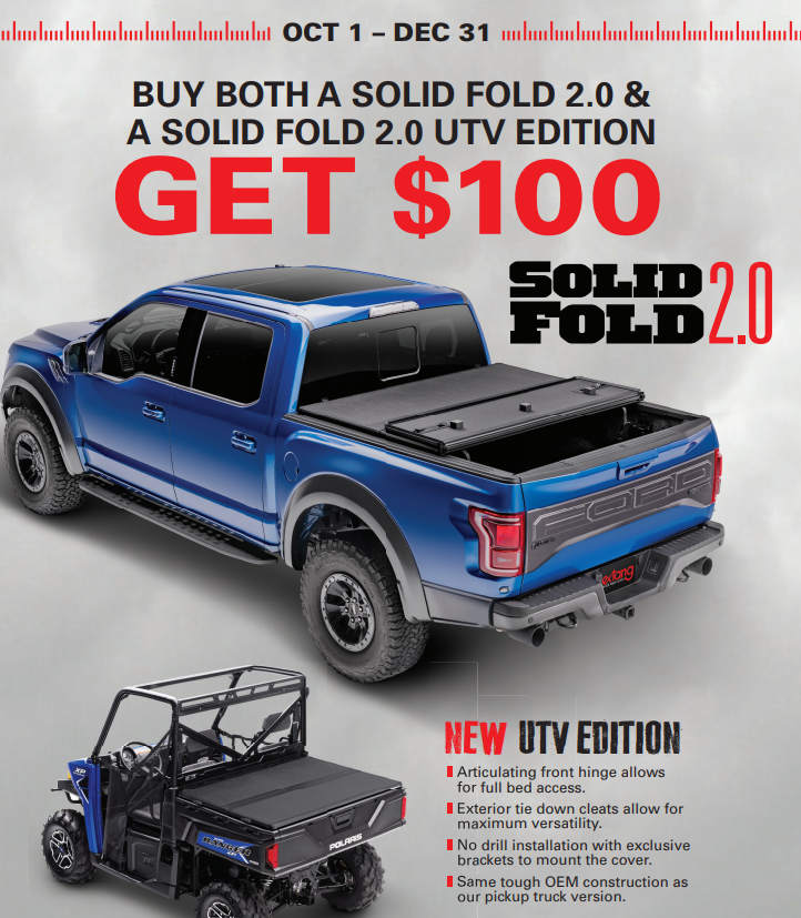 Extang $100 Back on Solid Fold 2.0 and 2.0 UTV Edition