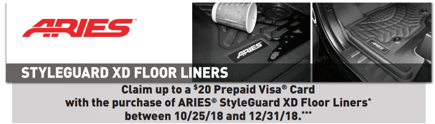 ARIES: Get a $20 Prepaid Card with StyleGuard XD Floor Liners Purchase