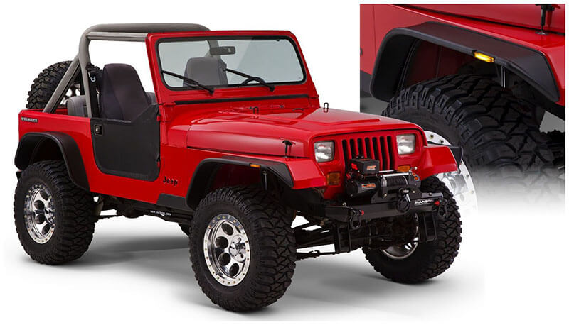 Bushwacker (10923-07): Flat-Style Fender Flares for 2018 Jeep Wrangler JL