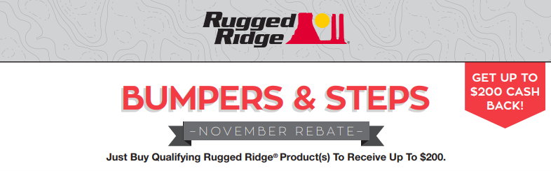 Rugged Ridge Up to $200 Back on Bumpers and Steps