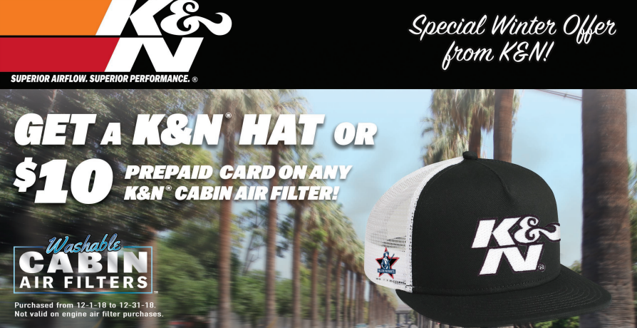K&N Free Hat or $25 Card on Air Intakes