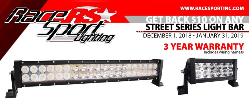 Race Sport Lighting $10 Back on Street Series Light Bars