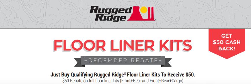Rugged Ridge $50 Back on Floor Liner Kits