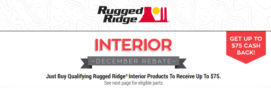Rugged Ridge Up to $75 Back on Interior Products