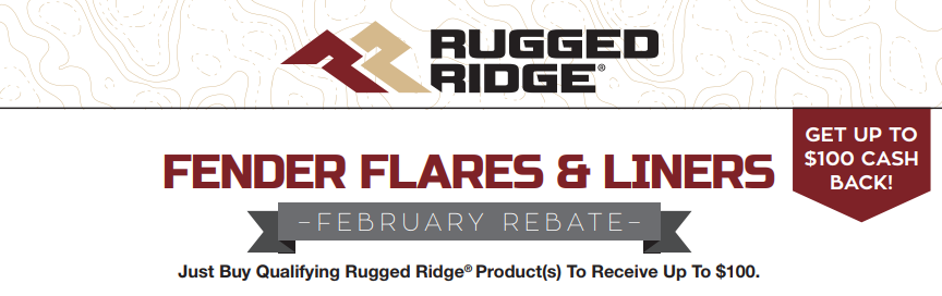 Rugged Ridge Up to $100 Back on Fender Flares and Liners