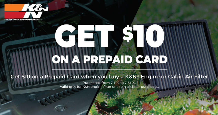 K&N: Get $10 Back on Engine and Cabin Air Filters